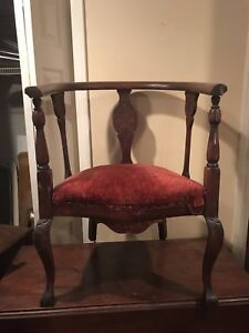 Antique Empire Mahogany Wood Corner Chair Carved Leaf Design C1920