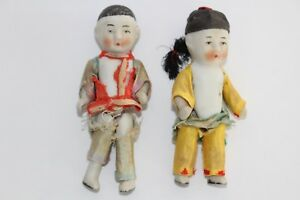 Antique Pair Hand Painted Porcelain Chinese Dolls
