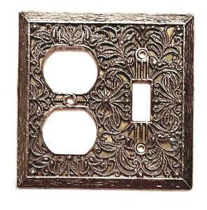 Vintage Brass Light Switch Outlet Plate Cover Combo Ornate Victorian Style