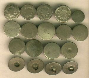 18 Early 1 Piece Hard White Pewter Buttons