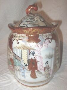 Antique Kutani Biscuit Jar Gourd Top Large Hand Painted Marked Japan