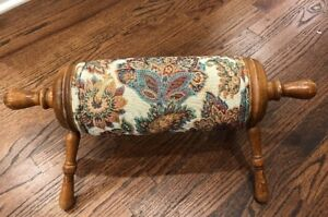 Antique Victorian Brocade Needlework Rolling Pin Cyllinder Footstool