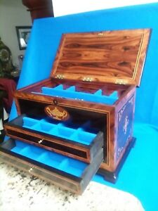 Brazilian Rosewood Jewelry Box With Antique Inlaid Panels