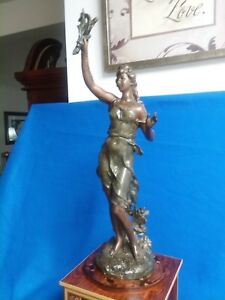 Antique French Bronzed Spelter Lady With New Clock And Base