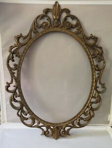 Antique Victorian Revival Vintage Made In Italy Ornate Brass Metal Picture Frame