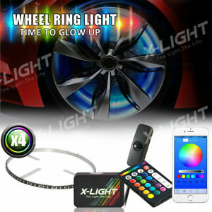 All color Wheel Well Ring Led Light Kit 4pc Custom Accent Neon Strip Rim Tire
