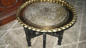 Mid Century Vintage Moroccan Brass Tray Hand Carved Coffee Table