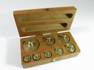 Restored Complete Antique Laboratory Apothecary Metric Weight Set Maple Box