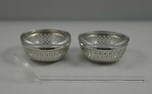 Pair Of Sterling Silver Reticulated Open Salt Cellars By Webster Silver W Spoon
