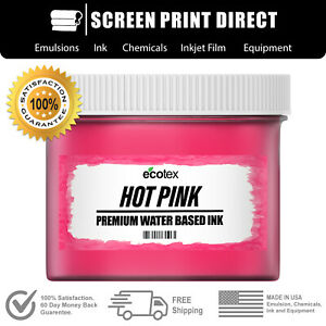 Ecotex Fluorescent Hot Pink Water Based Inks For Screen Printing Gallon 128oz