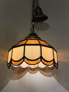 Vtg Stained Glass Chandelier 1940s Hanging Slag Tiffany Style Light Fixture