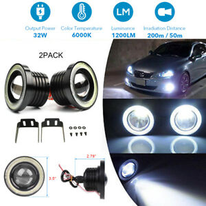 3 5 30w Car Cob Led Fog Lights White Angel Eyes Halo Ring Drl Lamp Waterproof