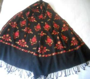 Vintage Black With Muted Red Embroidery Flowers Kashmir Cashmere Wool Shawl