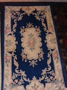3x5 Chinese Rug Vintage Aubusson Nichols Authentic Hand Made Oriental Rug 1960s