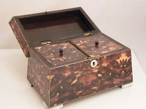 Faux Tortoiseshell M O P Footed Two Section Tea Caddy