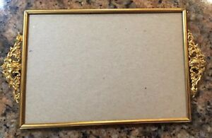 Vintage Metal Picture Frame With Metal Handles Gold Tone 5x7