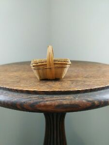 Antique Miniature Tightly Woven Lidded Basket Dollhouse