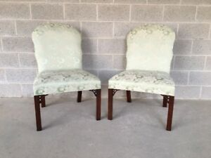 Hickory Chair Pair Of Mahogany Chippendale Style Fireside Accent Chairs