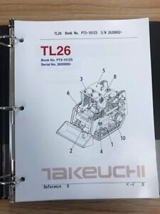 Takeuchi Tl26 Parts Manual S n 2620002 And Up Free Usps Priority Mail