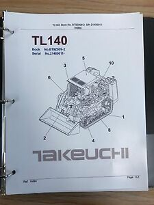 Takeuchi Tl140 Crawler Loader Parts Manual S n 21400011 And Up