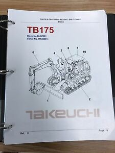 Takeuchi Tb175 Parts Manual S n 17530001 And Up Free Priority Shipping