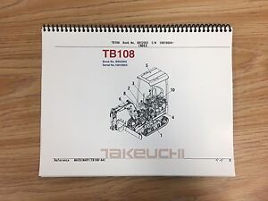 Takeuchi Tb108 Parts Manual S n 10810004 And Up Free Priority Shipping