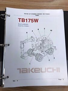Takeuchi Tb175w Parts Manual S n 17540001 Free Priority Shipping