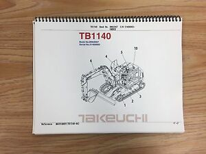 Takeuchi Tb1140 Parts Manual S n 51400005 And Up Free Priority Shipping