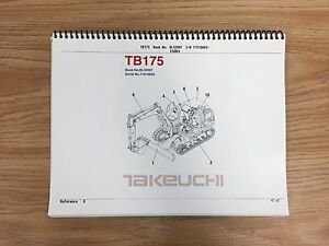 Takeuchi Tb016 Parts Manual S n 17510003 And Up Free Priority Shipping