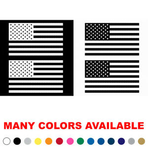 Set Lot Pack Of 2 Us American Flag Vinyl Sticker Decal White Or Black