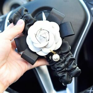 Leather Crystal Car Interior Rearview Mirror Cover With Flower Decoration Trim