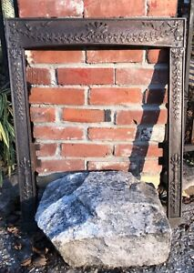 Antique 1890s Victorian Cast Iron Fireplace Mantle Surround Ribbons
