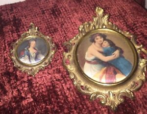 Two Small Vintage Gold Toned Framed Silk Satin Cloth Picture Wall Hanging