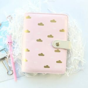 Domikee New Cute Creative A6 Leather Hardcover 6 Rings Refillable Binder Agenda