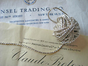 4 Yds Vintage Antique French Silv Metallic Cord Trim 1 16 Lampshade Pillow Doll