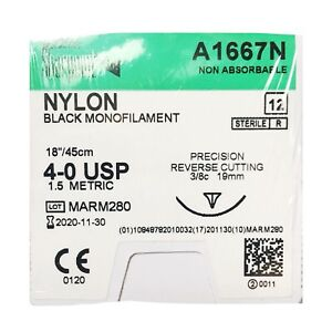 A1667n Sharpoint Plus Nylon Black Monofilament Surgical Suture