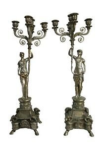 Pair Of Silver Over Bronze Women 5 Arm Candelabras