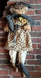 Country Primitives Gringe Doll Lady Corrin With Her Crows 32 All Handmade