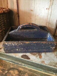 Early Primitive Old Wood Carrier Tote