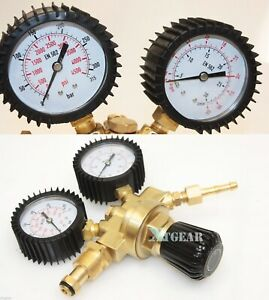 Tig Mig Co2 Argon Mix Gauge Dual Welding Gas Cylinder Brass Gauges Regulator