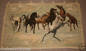 Antique 1960 Belgian Tapestry Wild Horses Mustangs W125 Wall Hanging Brown Green
