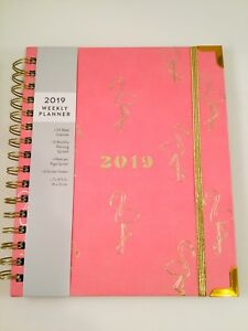 Eccolo 2019 Calendar Weekly Monthly Planner Agenda Student Organizer Pink gold