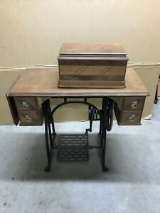 Wheeler Wilson 8 Sewing Machine With Walnut Cabinet And Treadle Cape Cod