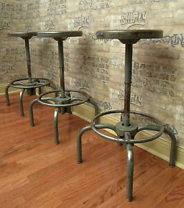 Lot Of 3 Vintage Industrial Metal Shop Stools Swivel Seat Height 30 Bar Stools