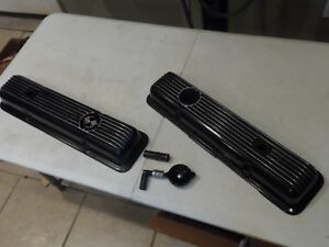 Vintage Gm Lt1 Chevy Finned Aluminum Valve Covers 68 77 Oem Painted Black Sk