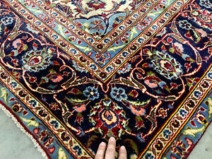 7x10 Red Antique Persian Rug Hand Knotted Worn Oriental Wool Rugs Blue Green Rug