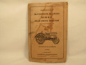 Vintage 1927 Mccormick Deering 15 30 Hp Gear Drive Tractor Instruction Book