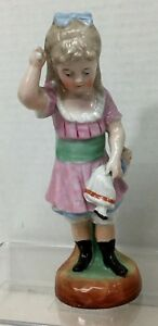 Antique Porcelain Girl W Doll Spanking Victorian Style Dress 7 1 2 Cross Sword