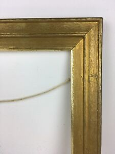 10x12 Vintage Wood Picture Frame Original Gold Finish Over Textured Paper 50 60s