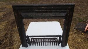 Vintage Antique Steam Punk Cast Iron Fireplace Mantle Insert With Grate